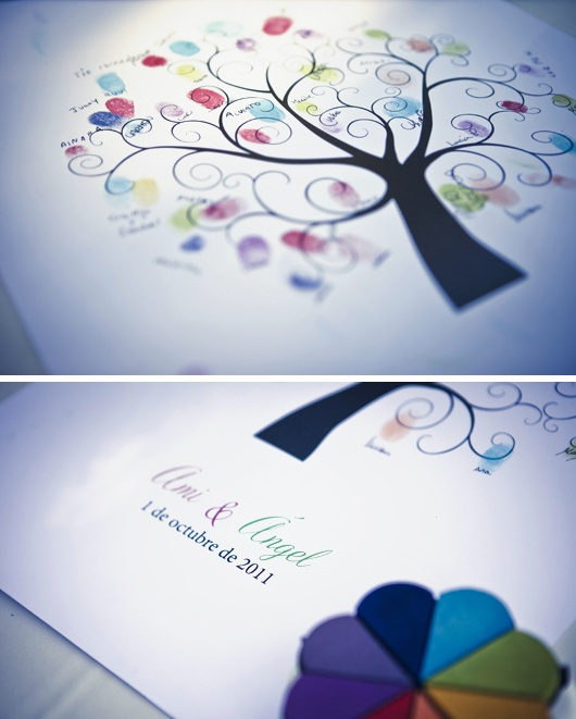 Preciosa y original alternativa al tradicional libro de firmas: El árbol de los deseos o árbol de huellas dactilares