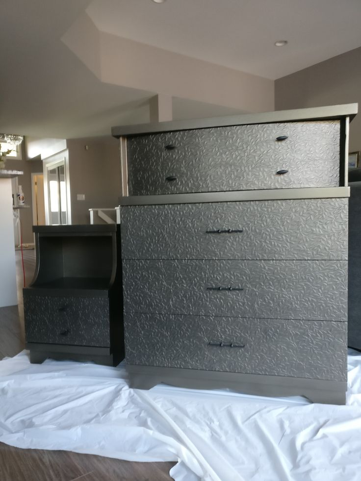 chest and night table painted with smoke and glazed with black.