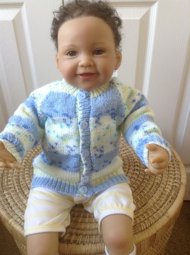 Baby Sweater / Cardigan to Fit a 3-6 month Baby Boy or Larger 26 inch Reborn baby Doll  Ready to Ship by Meganknits4charity on Etsy