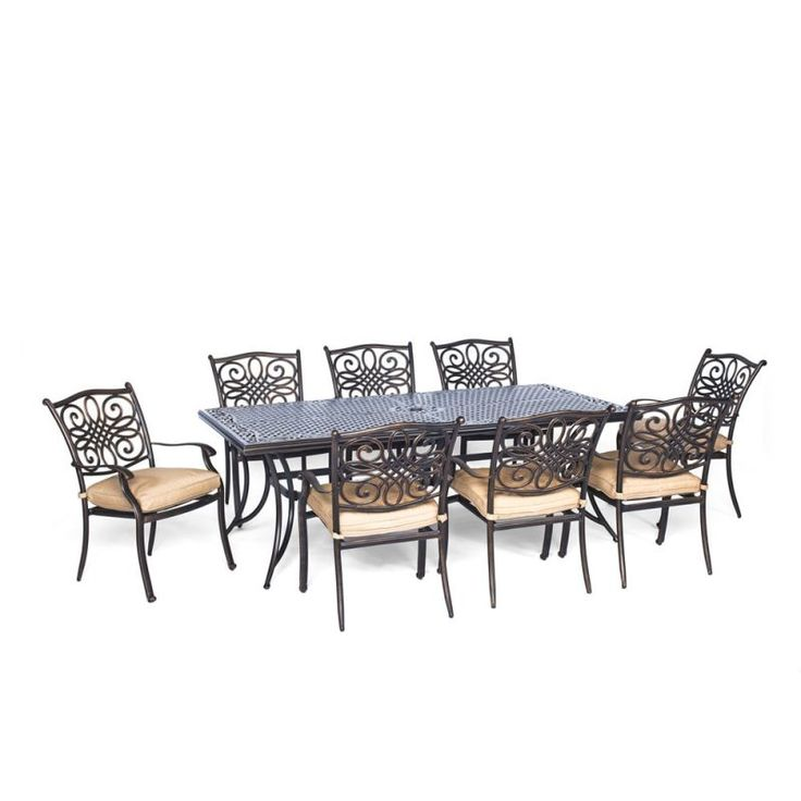 Hanover TRADDN9PC Traditions 9-Piece Aluminum Framed Outdoor Dining Set with Umb Natural Oat Furniture Outdoor Furniture Outdoor Dining Sets