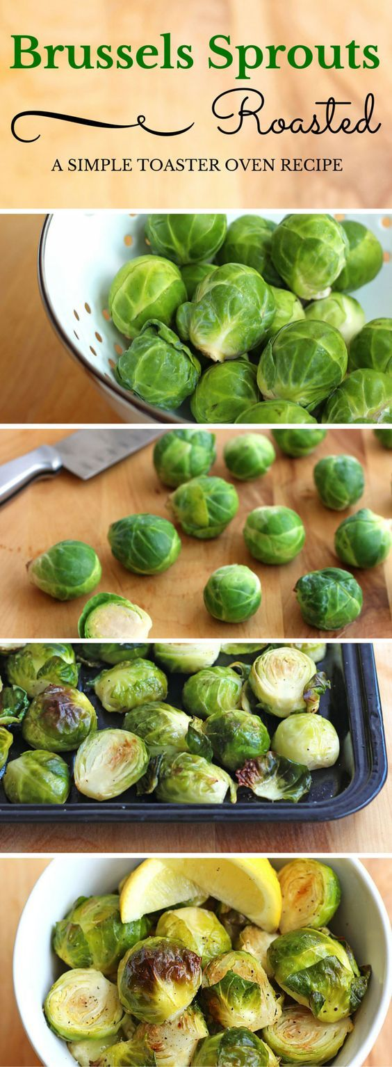 A super simple clean eating recipe for toaster oven roasted Brussels sprouts.  ToasterOvenLove.com