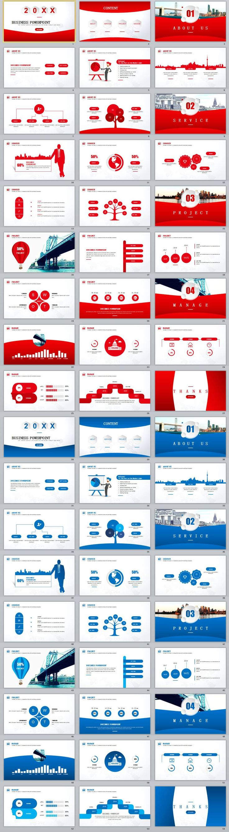 2in1+ RedBlue creative business chart report PowerPoint templates