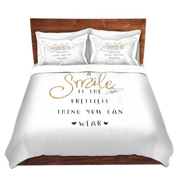 Decorative Duvet Covers and Shams Bedding | Zara Martina - A Smile Gold Sparkle | Inspiring Typography Lady Like
