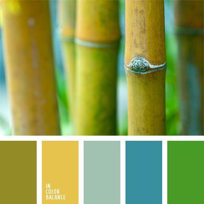azul claro, celeste pálido, color amarillo apagado, color hoja quemada, color verde amarillento, color verde bambú, elección del color, matices de colores pastel, pantanoso, selección de colores para un baño, selección de colores para una cocina, tonos pastel de color verde, verde vivo.