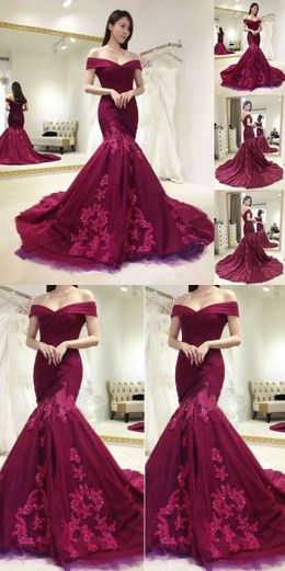 982e87980bc1 Charming Lace Appliques Burgundy Off Shoulder Mermaid Formal Long Prom Dress,,M000192  | Piros/Red | Prom dresses, Dresses és Prom dresses 2018