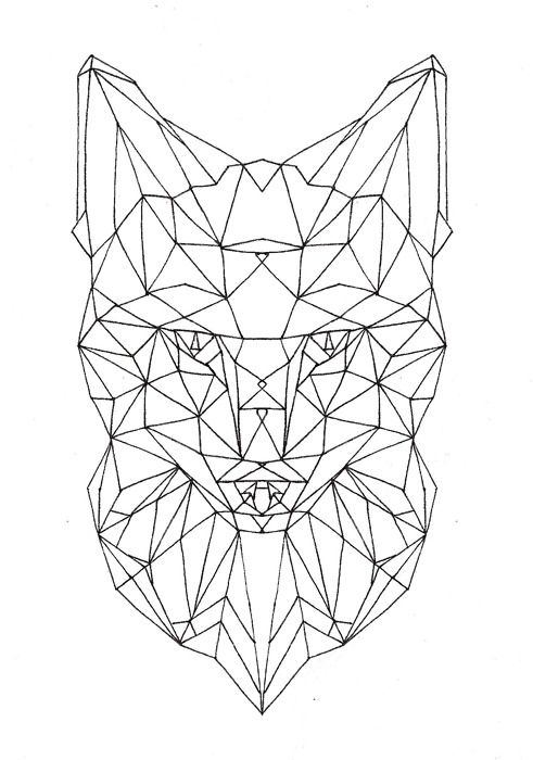 geometric fox face (unfinished)