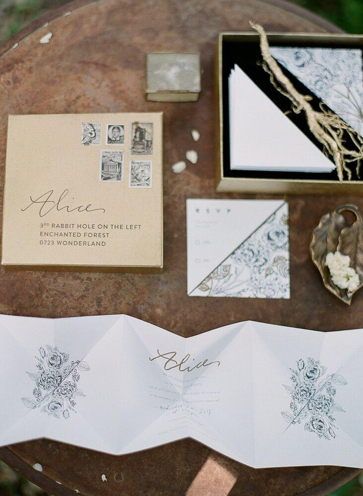 Elegant copper and neutral coloured wedding invite