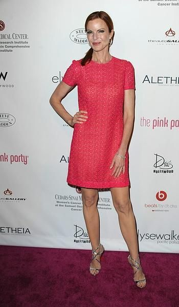 Marcia Cross wearing pink at the 6th Annual Pink Party in Hollywood, California.