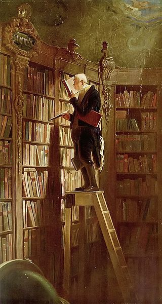 The Bookworm is an 1850 oil-on-canvas painting by the German painter and poet Carl Spitzweg. (this painting was on the bookmarks given out by our local bookshop, Breadloaf Bookshop, when I was growing up.)