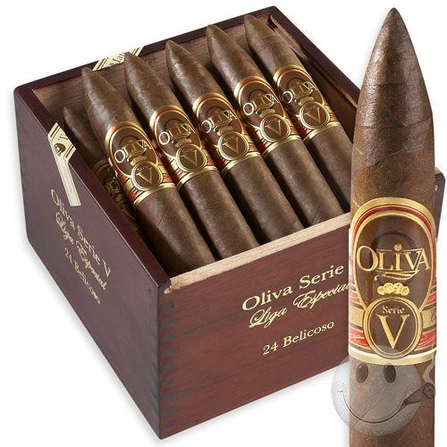 """Oliva cigars deliver all the ligero you could ask for!Also known as 'Ligero Especial', the Serie V from Oliva cigars is an enchanting Nicaraguan puro chock full of flavorful goodness. On the outside, a beautiful Habano Sun Grown wrapper glistens with oils. Thick and smooth as silk, this impressive leaf conceals a powerful, yet balanced and smooth blend of aged Nicaraguan ligero from the Jalapa Valley of Nicaragua. The Oliva Serie 'V"""" cigar is full-bodied and full-flavored, offering layers of…"""