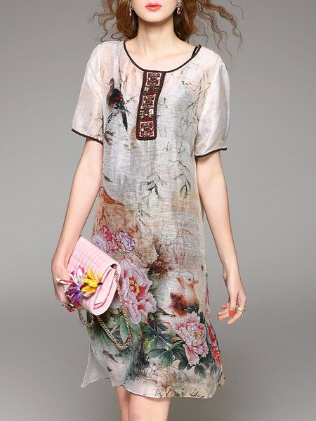 Multicolor Two Piece Silk Vintage Printed Midi Dress