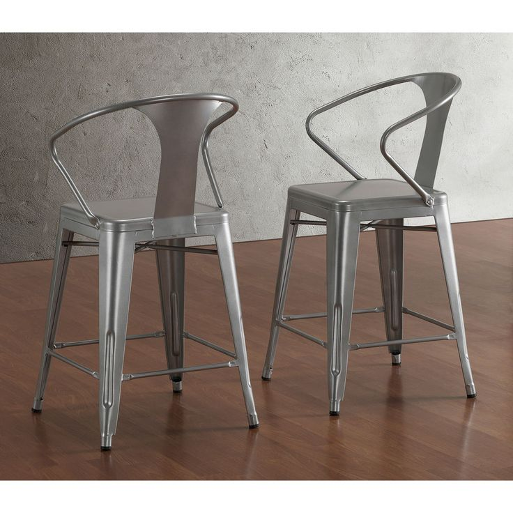 Tabouret Silver w Back 24 inch Counter Stools Set of 2 Dining Room Bar Modern