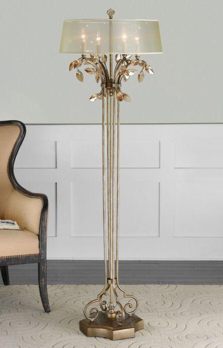 Gold Leaves In An Unusually Elegant Floor Lamp. Austrian Glamour Floor Lamp,  Fine Lighting