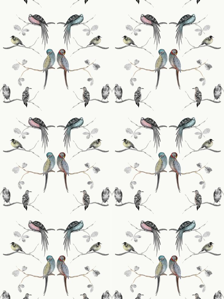 Contemporary bird wallpaper with hand-painted birds and branches.