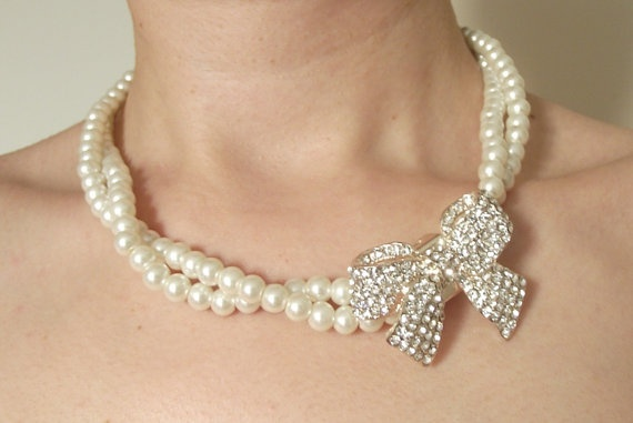Pearl bridal necklace multistrand bridal necklace by nellylukan, $42.00