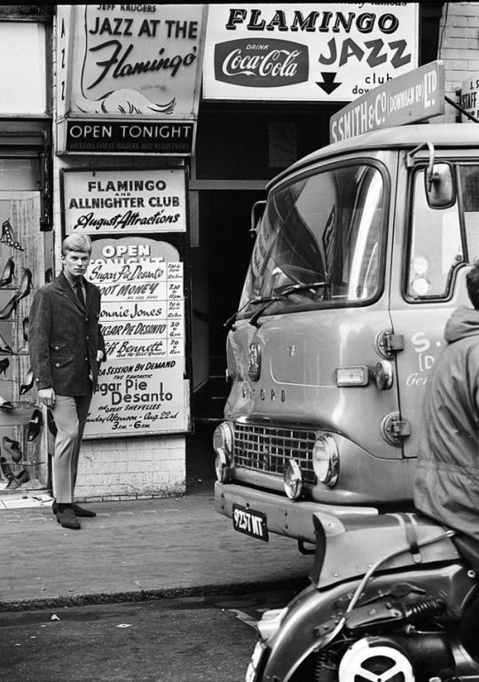 Flamingo Club 1964 A Mod in the street outside the Flamingo club in Soho wearing Cecil Gee clothes for 'Mods Monthly' magazine, London, 1964. Photo by Stanley Bielecki