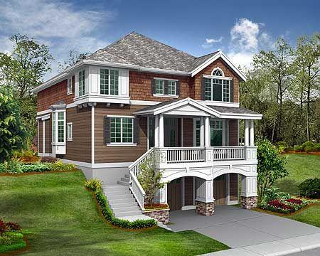 79 best hillside house design images on pinterest home for Beach house plans on a budget