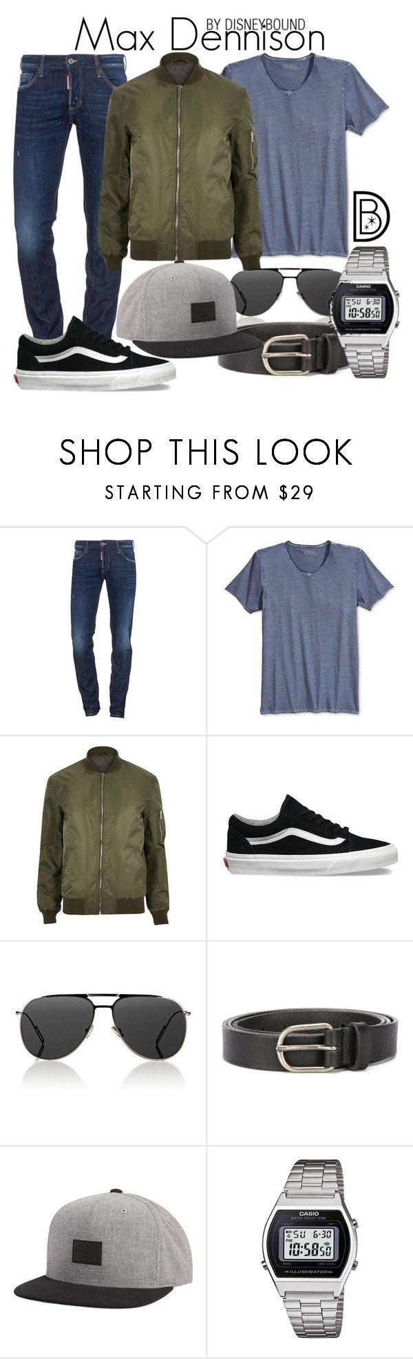 Max Dennison by leslieakay on Polyvore featuring GUESS, Dsquared2, River Island, Casio, Billabong, Vans, Dior Homme, men's fashion, menswear and Halloween