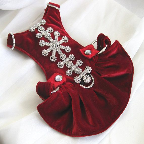 Small Dog Harness Dress Red Velvet Snowflake by FooFooFido, $110.00