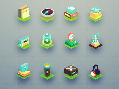 Isometric icon set (32 icons) by ADIDAG