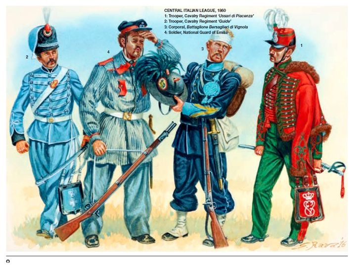 CENTRAL ITALIAN LEAGUE, 1860 1: Trooper, Cavalry Regiment 'Ussari di Piacenza' 2: Trooper, Cavalry Regiment 'Guide' 3: Corporal, Battaglione Bersaglieri di Vignola 4: Soldier, National Guard of Emilia