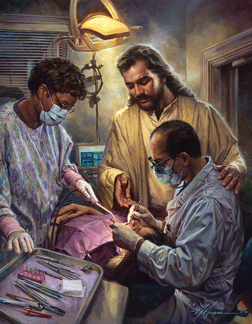 Em boas mãos. Um tributo à profissão de dentista. Óleo sobre tela.  Christian Nathan Greene.