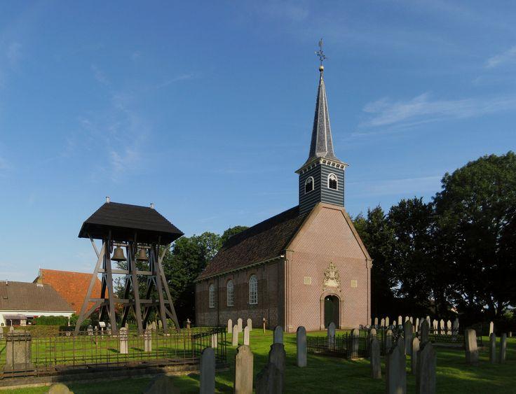 The klokkenstoel and reformed church of Donkerbroek, a village in Ooststellingwerf, a municipality in the Dutch province of Fryslân.