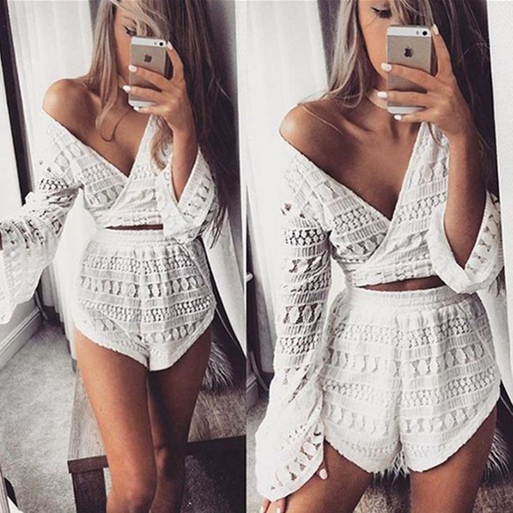 2016 new women casual summer deep v-neck lace flare sleeve cropped tops shorts two pieces jumpsuit playsuits combinaison femme