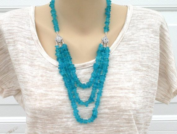 Womans blue necklace by JewelryByLoriStave on Etsy