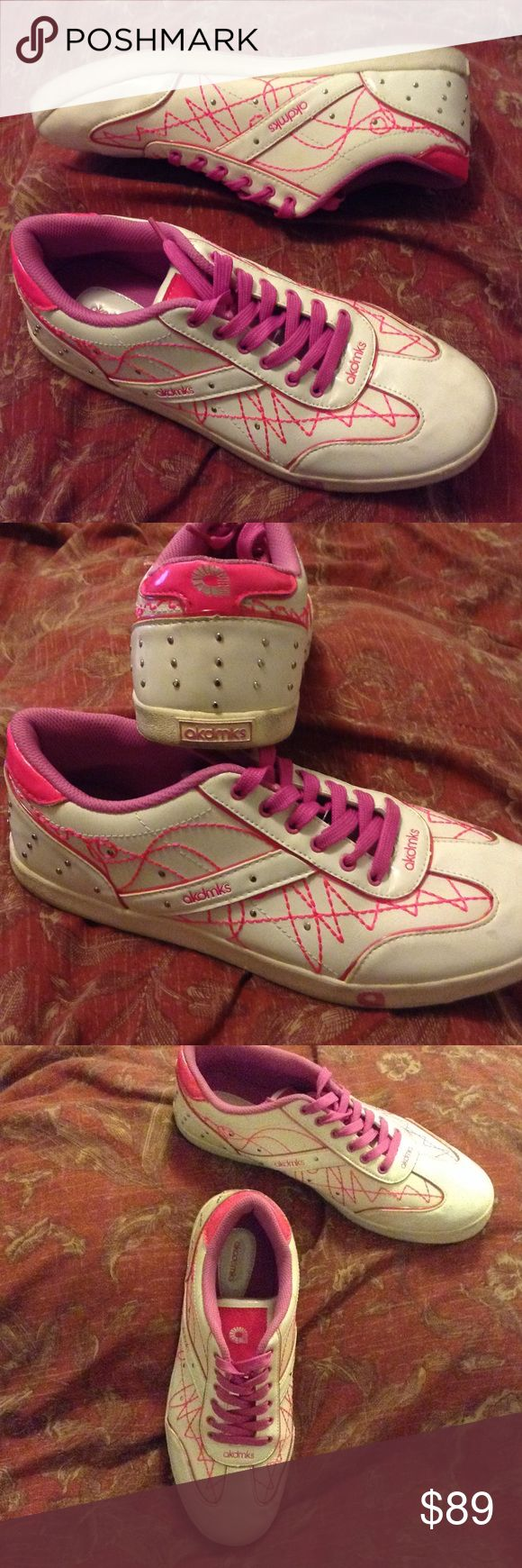 🆕 WOMENS RETRO HOT PINK STUDDED AKADEMIKS SIZE 10 2004 Hot Pink & Fuchsia with White base AKADEMIKS Casual Wear ladies shoes. Shoes have Silver studs on heel and sides. Hot Pink zigzag threads throughout. Vinyl like material. Easy to wipe clean. In good used condition. Soles are in good condition. Many wears left. Rated 4/5. AKADEMIKS  Shoes Sneakers