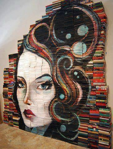 A drawing created entirely with books.
