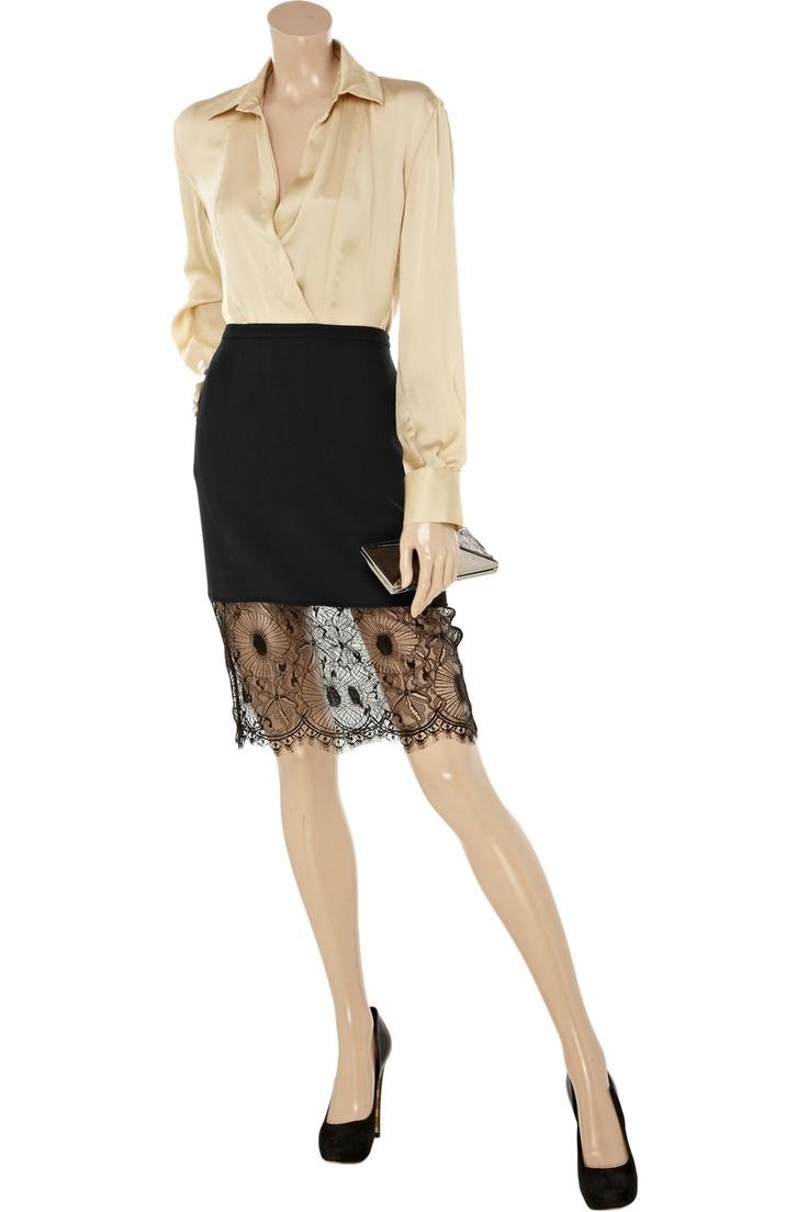EMANUEL UNGARO  Lace-trimmed crepe skirtLacetrim Crepes, Lace Trim Crepes, Ungaro Lace Trim, Lace Skirts
