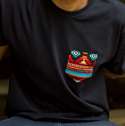 The pocket detailing on this shirt was hand cut & sewed on with a fun, tribal-inspired, cotton fabric. In stock: We only have a limited amount of each pattern. Sizing: Since these shirts are mens shirts, if youre a girl, Id recommend picking one size smaller than you if you want it to ...