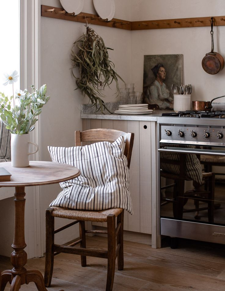 A peaceful kitchen in a bustling city