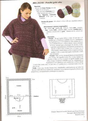 Mania de linhas - trico, croche e tear: Poncho Gola Alta
