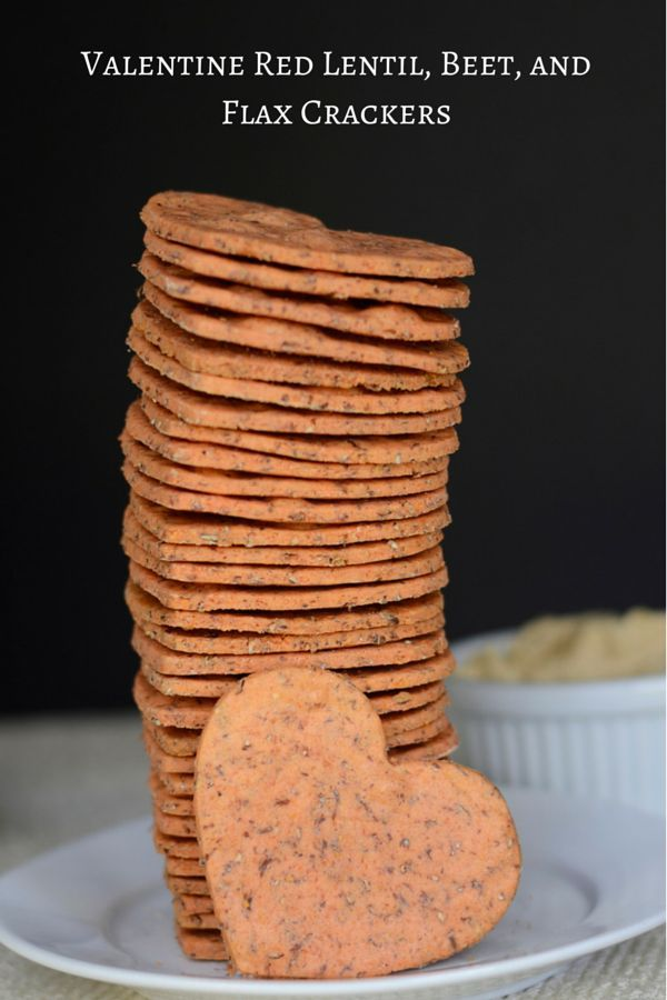 Valentine Red Lentil, Beet, and Flax Crackers - healthy, gluten free crackers made with red lentil flour, beets, coconut oil and ground flaxseed.