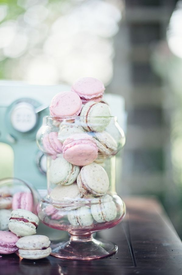 Think I found my theme...I love my wedding already! macarons in pink glass jars // photo by AthenaPelton.com