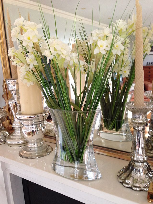 Cream narcissi in glass vase - Artificial silk flowers by Daisy Alley  www.daisy-alley.com