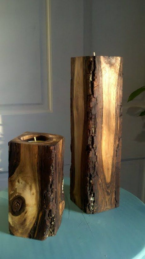 Love! Homemade rustic tealight holders.The husband's next project. LOL.