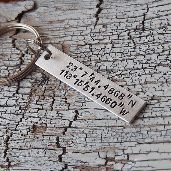 Keychain stamped with the coordinates of where you first met. #holidays #gifts