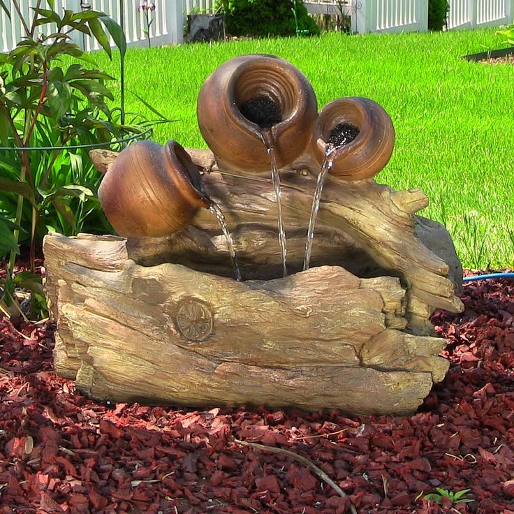 Pots And Tree Trunk Outdoor Lighted Water Fountain