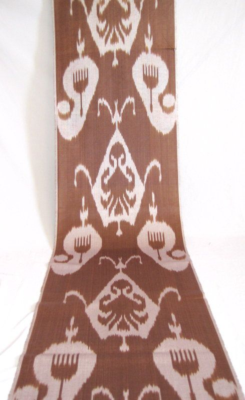 SALE for solid brown ikat fabric by the yard brown fabric
