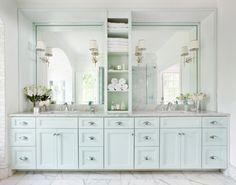 Mark Williams Design - bathrooms - light blue cabinets, light blue bathroom cabinets, light blue vanity, light blue bathroom vanity, light b...