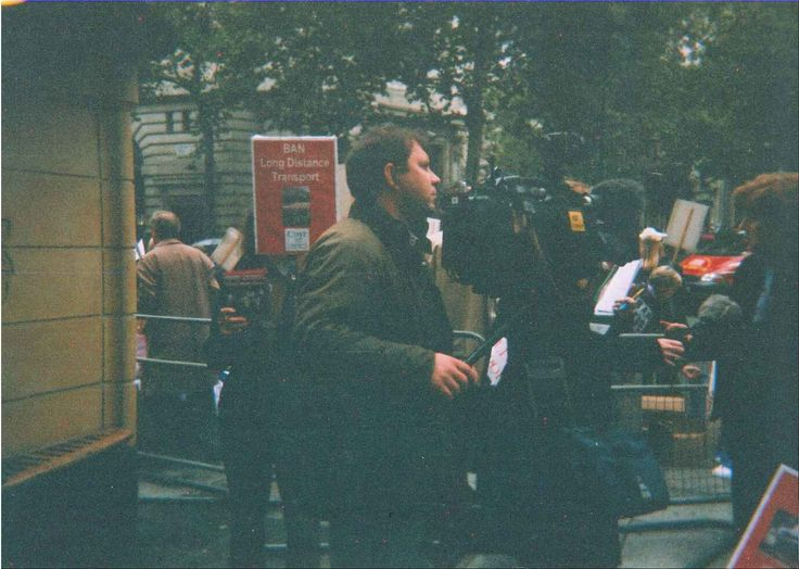 Camera crew filming the protest.  (Old photo)