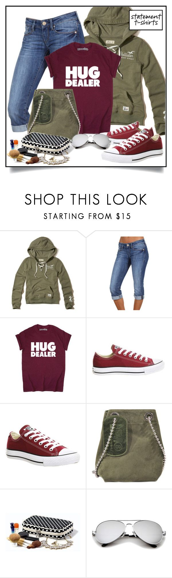 """Hug dealer"" by nicole-christie-mennen ❤ liked on Polyvore featuring Hollister Co., Mavi, Converse and Maison Margiela"