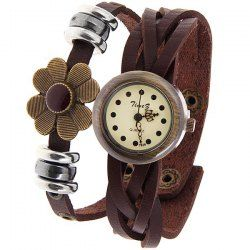 $5.55 Time Z Quartz Watch with Dots Indicate Round Dial Leather Watchband for Women (Brown)