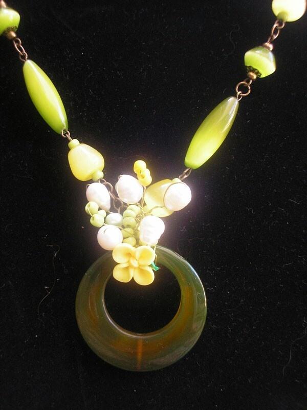 Dark Brown Stone Wired Necklace
