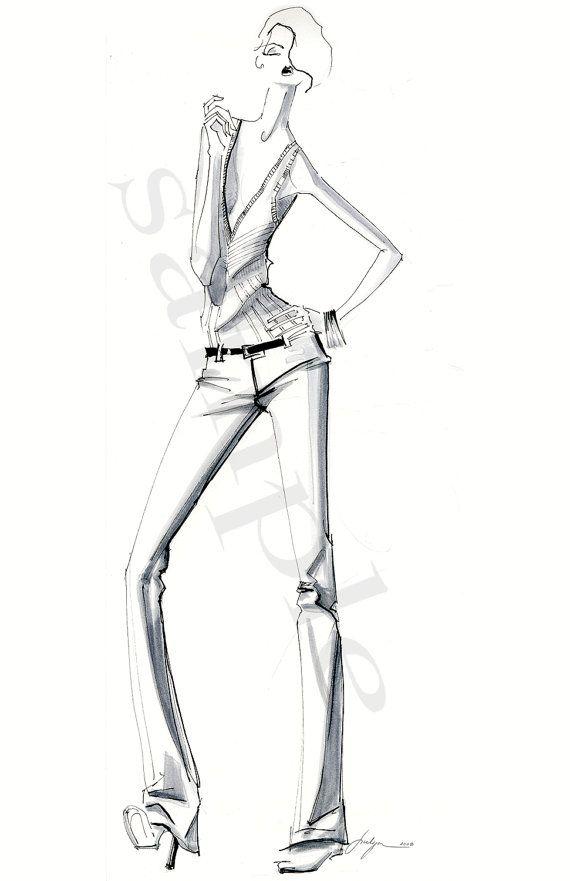 Black and white fashion illustration print of by JulijaLubgane