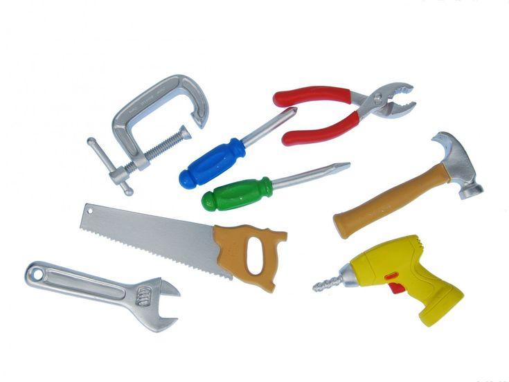7x Bau Werkzeug Set Miniblings Kunststoff Figur Werkstatt Handwerker Miniatur
