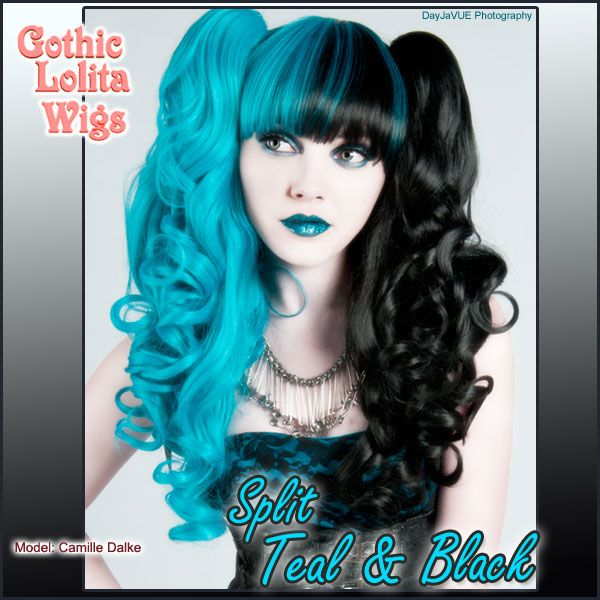 split color teal blue aqua and black gothic alternative lolita long wig from - Colored Wig